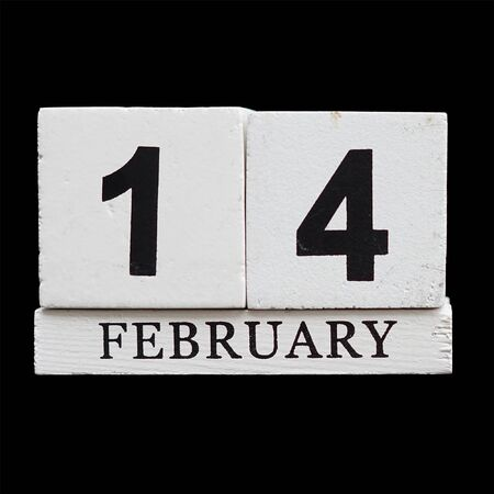 almanac: 14 February on wooden calendar