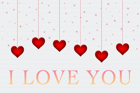 Hearts on white paper with words I love you Stock Photo