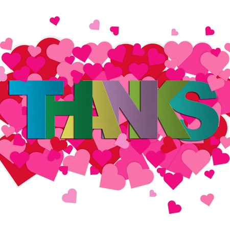 gratitude: Thank you card with pink and red hearts on white background with word THANKS