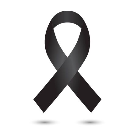 Realistic black ribbon isolated on white layout.