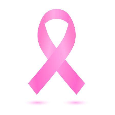 Ruban rose réaliste, symbole de sensibilisation au cancer du sein, isolé sur blanc. Banque d'images - 71654850