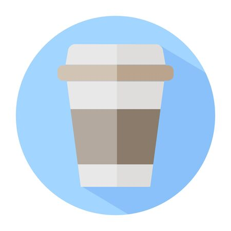 Disposable coffee cup icon, vector illustration flat design with shadow