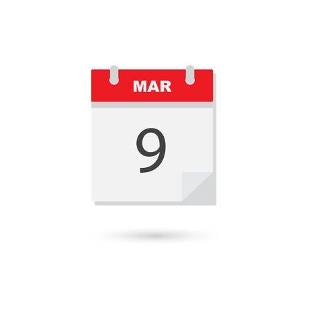 March 9, Vector flat daily calendar icon