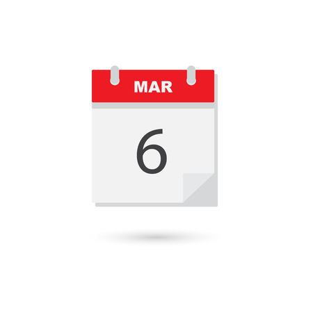 scheduler: March 6, Vector flat daily calendar icon Illustration