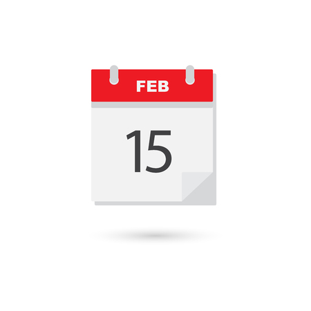calendar page: February 15, Vector flat daily calendar icon