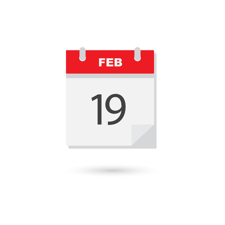 scheduler: February 19, Vector flat daily calendar icon Illustration