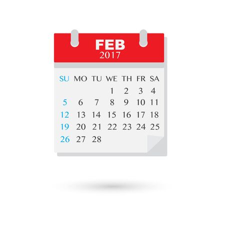 event planner: February 2017, Vector flat weekly calendar icon Illustration