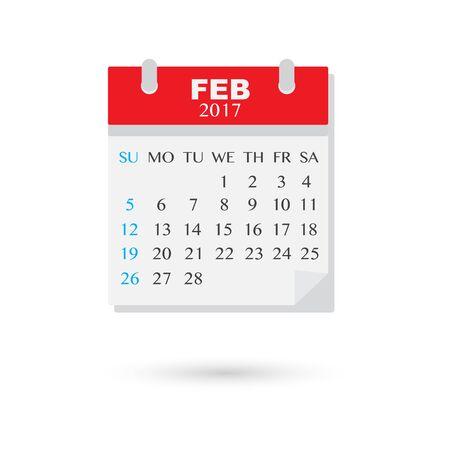February 2017, Vector flat weekly calendar icon Illustration