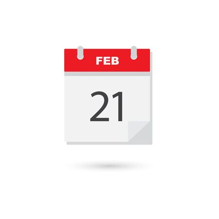 calendar page: February 21, Vector flat daily calendar icon