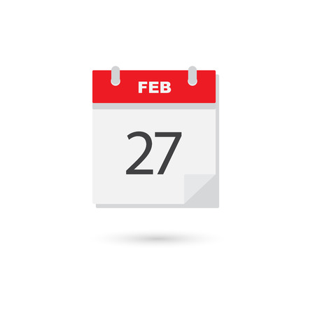 scheduler: February 27, Vector flat daily calendar icon Illustration