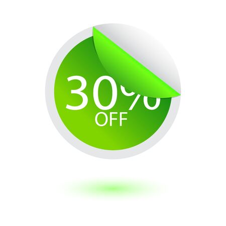 30% off sale sticker, vector illustration Çizim