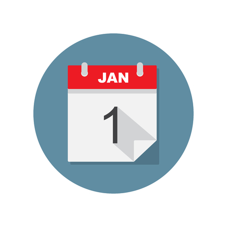 jan: Jan 1 calendar icon. Vector illustration.