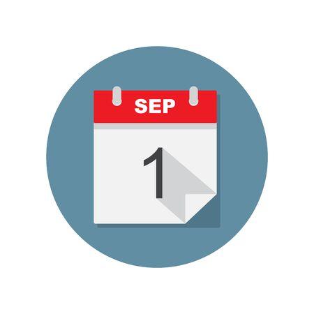Sep 1 calendar icon. Vector illustration. 向量圖像