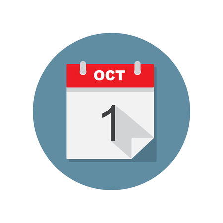calendar page: Oct 1 calendar icon. Vector illustration.