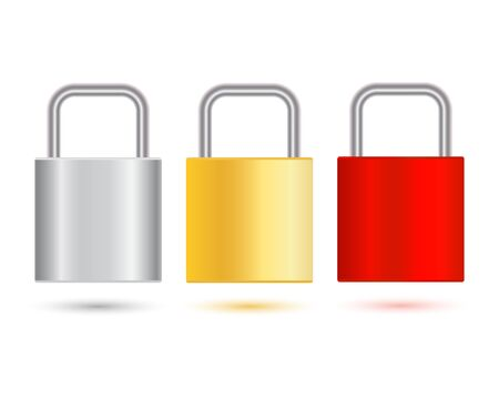 Vector locked padlock red, silver and gold isolated on white