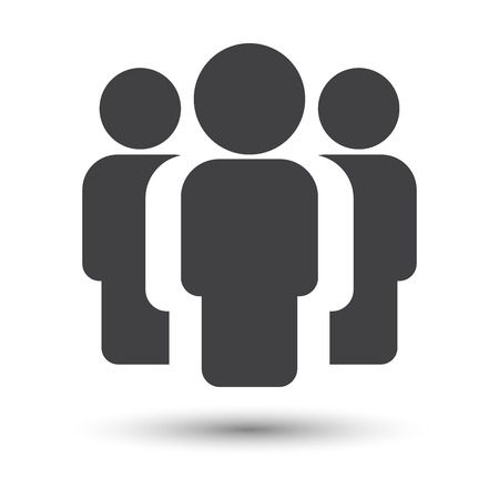 shadow people: People simple icon with shadow, illustration