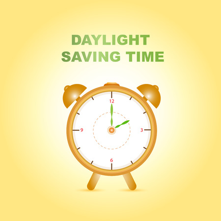 Daylight saving time with clock on gradient yellow background Illustration