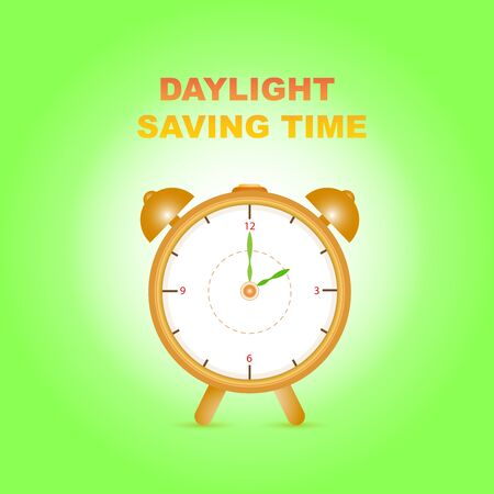 Daylight saving time with clock on gradient green white background