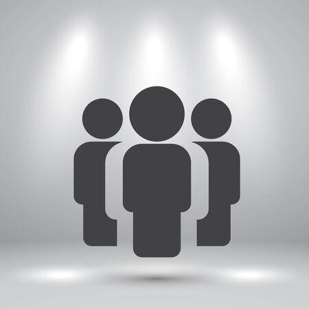 shadow people: People simple icon with shadow on studio room background, illustration Illustration