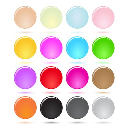 Colorful Round Glossy Jelly style Button illustration