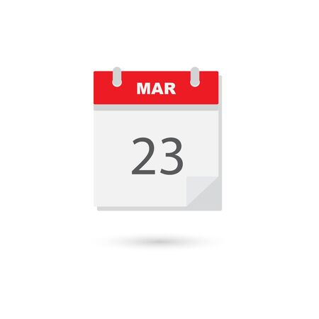 calendar page: March 23 flat daily calendar icon Illustration