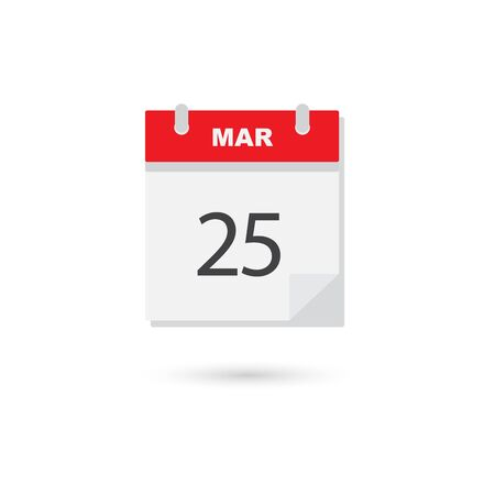 scheduler: March 25 flat daily calendar icon Illustration