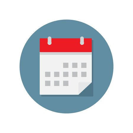 calendar page: Calendar icon with shadow on white