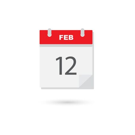 calendar page: February 12, flat daily calendar icon Illustration