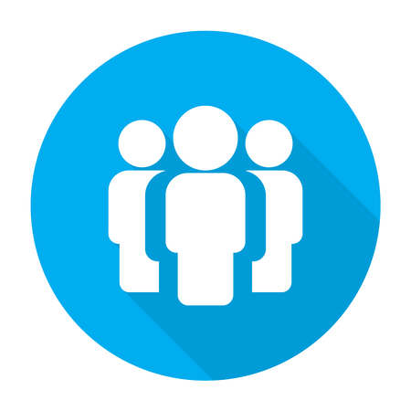shadow people: People simple icon with shadow on blue background, illustration