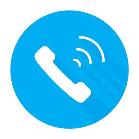 Phone icon flat style isolated on blue background, illustration