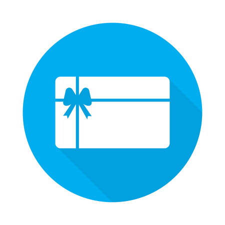 gift card, illustration with long shadow on blue background Stock Photo
