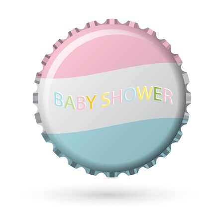 bottle cap in pink and blue with words baby shower! isolated on white background, vector illustration Illustration
