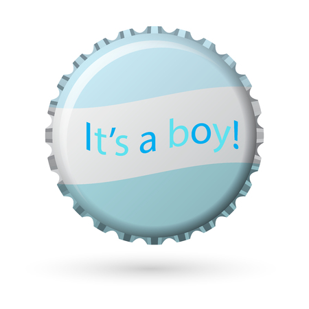 bottle cap in white and blue with words Its a boy! isolated on white background, vector illustration Illustration