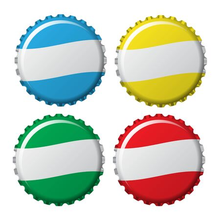 aluminum: bottle caps in colors isolated on white background, vector illustration