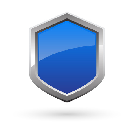 blue shield with shadow on white background. Vector illustration.