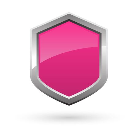 pink shield with shadow on white background. Vector illustration.