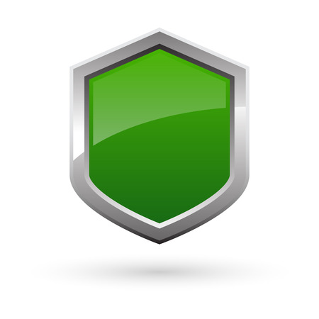green shield with shadow on white background. Vector illustration.