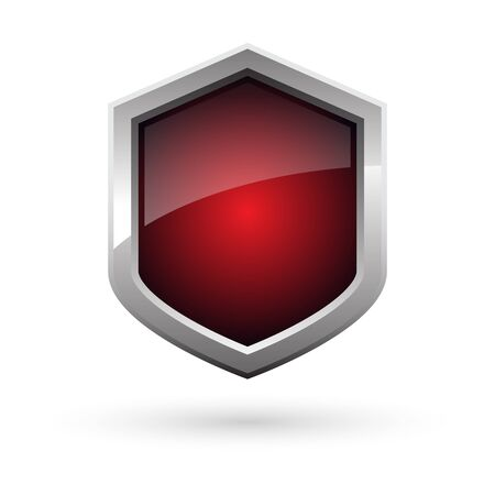 black red shield with shadow on white background. Vector illustration.