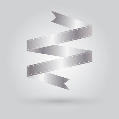 silver ribbon: silver ribbon vector icon on gradient grey background