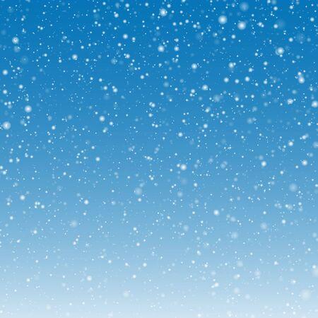 青色の背景のベクトル図に積もる雪