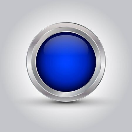 blue shiny web button or background with shadow on grey gradient background, vector illustration