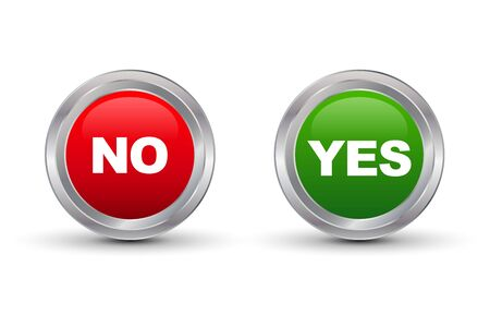 Yes No Glossy Button, Vector illustration