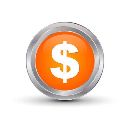 dollar glossy button, vector illustration