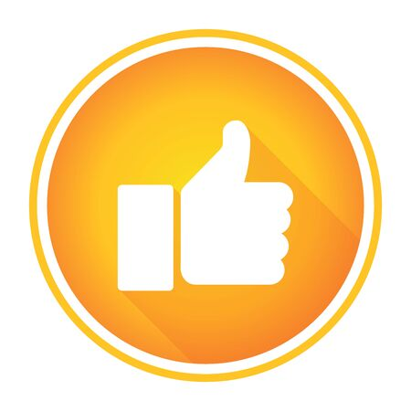 Like icon isolated on yellow orange background.