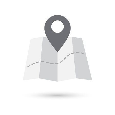 Grey web icon Map markers and map