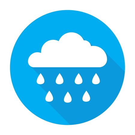 Cloud and rain icon with long shadow