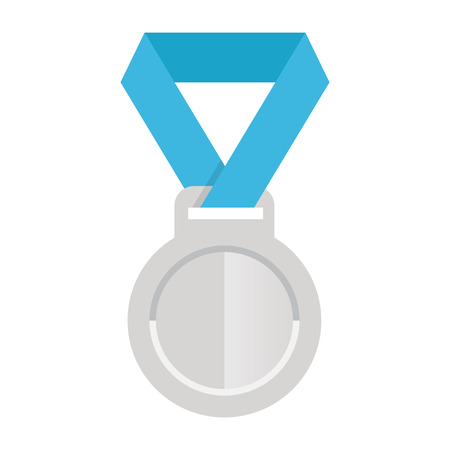 silver ribbon: award silver medal with blue ribbon, icon