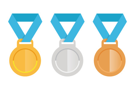 Set flat icons gold silver and bronze medal