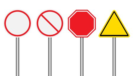 Set of blank road signs on white background Stock Vector - 72911347