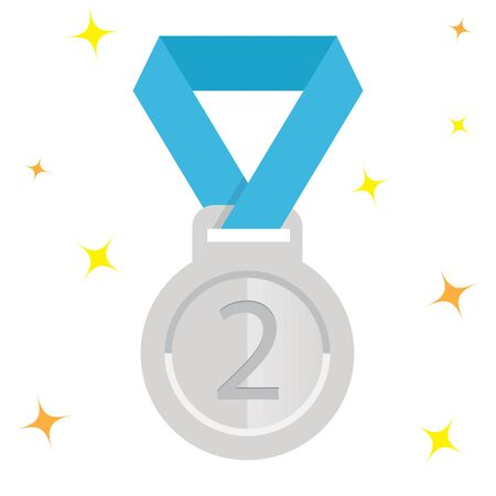 silver ribbon: award silver medal with blue ribbon, vector icon